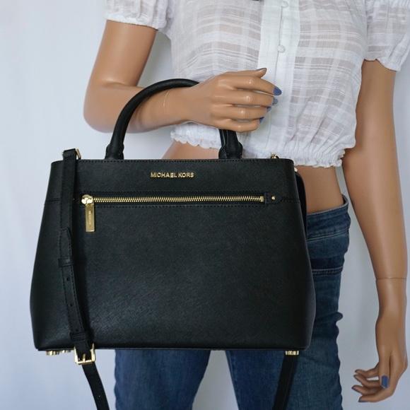 8317a05b61b0 Michael Kors Bags | Hailee Med Black Satchel Shoulder Bag | Poshmark
